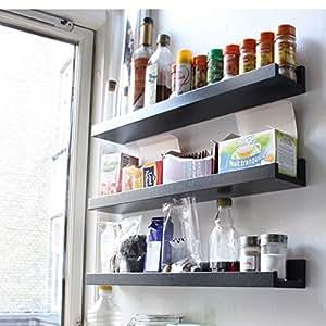Amazon Com Wall Mount Spice Rack Floating Shelf Wood