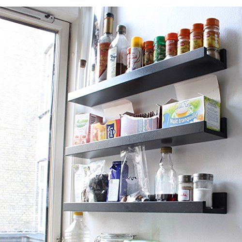 Wall Mount Spice Rack Floating Shelf Wood Black 22 inch Long