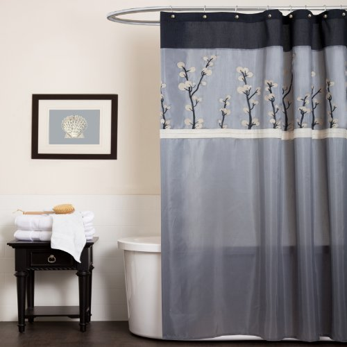 Triangle Home Fashions 19266 Lush Decor Cocoa Flower Shower Curtain, Gray/Black