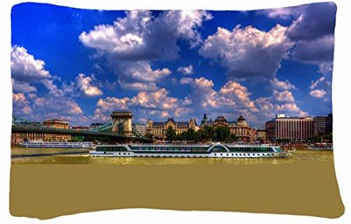Microfiber Peach Queen Size Decorative Pillowcase -City Clouds City Bridge Images House Boat front-817844