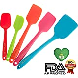 Lucent Silicone Spatula Set Complete with Turner -No BPA, 100% FDA Grade -Order Now -100% Money Back Guarantee! Heat Resistant One-piece Utensils with Soft Grip - Colorful Premium Silicon (Superior to Rubber & Plastic) - Hygienic, High Quality, Eco-friendly & Ergonomic - Flexible Non-stick Kitchen Tools for Scraping, Baking, Cooking & Decorating
