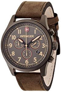 Buy Wenger Terragraph Chrono Men s Quartz Watch Brown Dial Analogue Display  and Brown Leather Strap 010543103 f4aba8e05c4