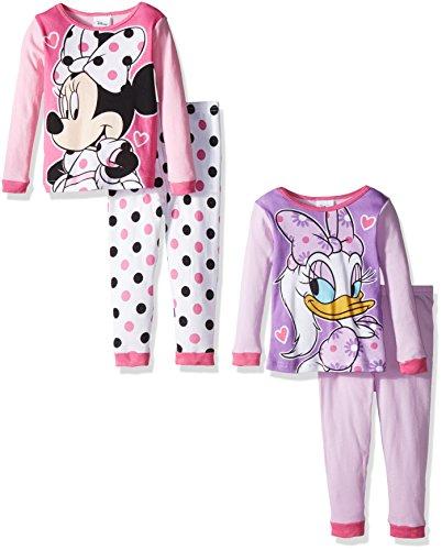Disney Toddler Girls' Minnie Mouse 4-Piece Pajama Set, Assorted, 4T