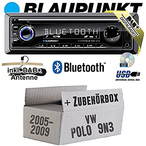 VW Polo 9 N3 - Blaupunkt Stockholm 230 DAB - DAB +/CD/MP3/USB Kit de montage autoradio avec Bluetooth -