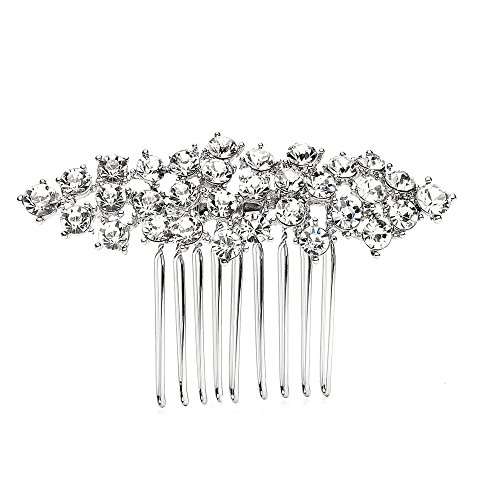 Mariell Crystal Cluster Bridal, Wedding or Prom Hair Comb with Silver Rhodium Plating