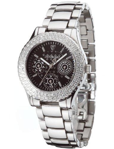 Detomaso SPLENDORE DT3012-A Ladies DT3012-A - Reloj analógico de cuarzo para mujer, correa de acero inoxidable color plateado (agujas luminiscentes)