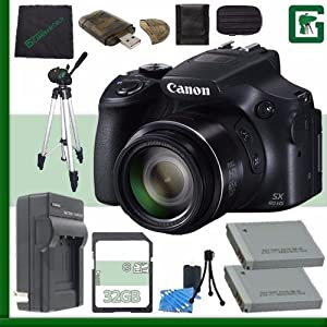Canon PowerShot SX60 HS Digital Camera with Wi-Fi (Black) + 32GB Green's Camera Bundle 2