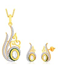 "Peora 18 Karat Gold Plated Kundan ""Rukma"" Pendant Earrings Set With Free Chain (PS141GJ)"