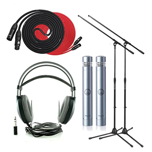 Set Of 2 Akg P170 High-Performance Instrumental Mics With Set Of 2 On Stage Boom Mic Stands, Lyxpro 25' Black Premium Cable Xlr M/F, Lyxpro 25' Red Premium Cable Xlr M/F, Akg K77 Perception Over-Ear Studio Headphones