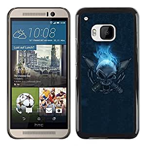 Omega Covers - Snap on Hard Back Case Cover Shell FOR HTC ONE ( M9 ) - Flaming Skull