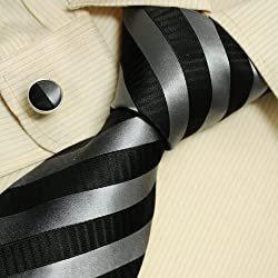 Silver Striped Men Wearing Ties Black Gift for Dad Discount Silk Neckties Cufflinks Set A1125 One Size Silver,black