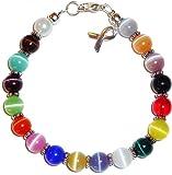 Prepackaged (7 3/4 in.) Cancer Awareness Bracelet 18 Colors, 8mm