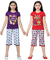 SINIMINI GIRLS PRINTED CUTE CAPRI SET (PACK OF 2)