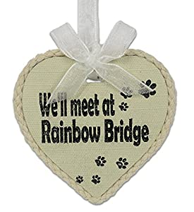 Pet Remembrance Rainbow Bridge Ornament and Decorative Stone Rock - 2 Piece Gift Set