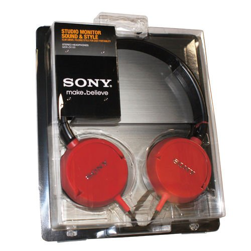 Sony Mdr-Zx100 Outdoor Stereo Headphone Comfort Fit Overhead Red Headphones Free Shipping