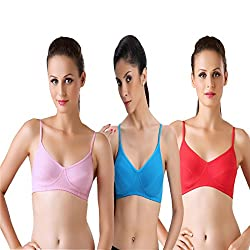 Bodyline Hosiery Non Padded Viola Blue Red and Pink Bra