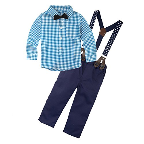 Big Elephant 2 Pieces Baby Boys Long Sleeve Plaid Shirt Overalls Set with Bow E8 (18-24 months) (Tag Size:100)