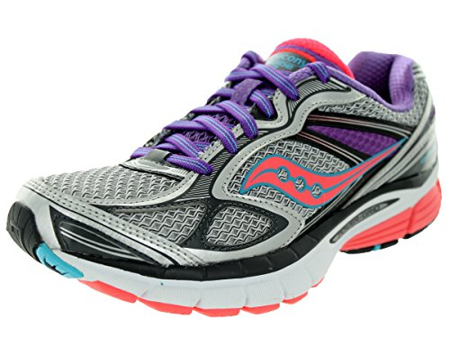 Saucony Women's Guide 7 Running Shoe,Silver/Coral/Purple,8 M US