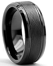 buy King Will 8Mm Tungsten Ring Black Brushed Two Grooved Center Mens Wedding Band(9.5)