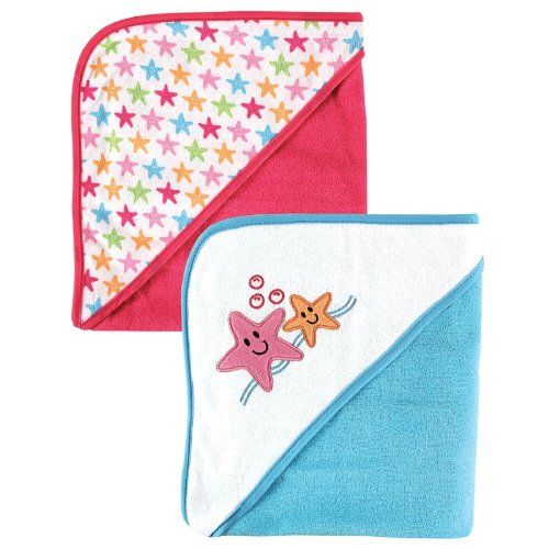 Luvable Friends 2-Pack Hooded Baby Towels, Pink Starfish