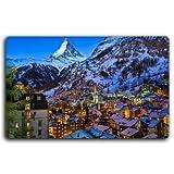 Switzerland Houses Mountains Night Alps Zermatt Valley, Matterhorn Peak, Swiss, Pennine Cities Furniture & Decorations magnet fridge magnets