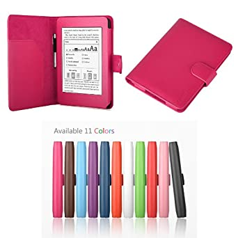 """Exact PU Leather Folio Case for Amazon Kindle Paperwhite (6"""" High Resolution Display with Built-in Light), HOT PINK (with Auto Sleep/Wake)"""