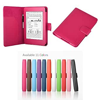 "Exact PU Leather Folio Case for Amazon Kindle Paperwhite (6"" High Resolution Display with Built-in Light), HOT PINK (with Auto Sleep/Wake)"