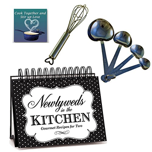 Newlywed Cooking Gift Set - Newlywed Cookbook, Heart Measuring Spoons, Heart Wisk, Magnet (Bundle of 4 Items)
