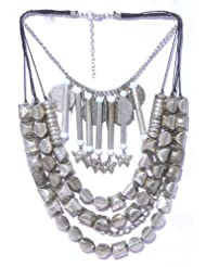 V3 Craft's Multi Strand Metal And Glass Bead Necklace For Women