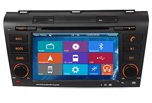 Crusade Car DVD Player for Mazda 3 2004-2009 Support 3g,1080p,iphone 6s/5s,external Mic,usb/sd/gps/fm/am Radio 7 Inch Hd Touch Screen Stereo Navigation System+ Reverse Car Rear Camara + Free Map (2006 Mazda 6s compare prices)
