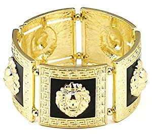 Lion Head Bangle Stretch Bracelet With 5 Heads Gold Color With Black Enamel Medusa Style
