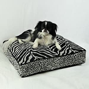 Snoozer Safari Collection Luxury Rectangular Pillow Bed, Large, Black/Gold