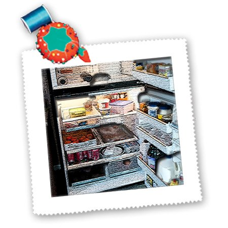 Qs_44094_2 Jos Fauxtographee Realistic - An Open Refrigerator With All The Contents Textured And Manipulated - Quilt Squares - 6X6 Inch Quilt Square