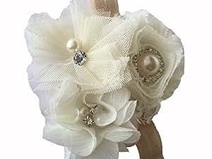BELLAZAARA Dressy Baby Girl Ivory Headband chiffon Rose Flower with Pearl
