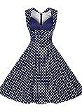 Miusol® Damen Ärmellos Sommerkleid 1950er Retro Polka Dots Cocktailkleid Petticoat Faltenrock Abendkleider