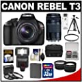 Canon EOS Rebel T3 Digital SLR Camera & 18-55mm IS Lens with 75-300mm Lens + 32GB Card + Battery + Case + 3 Filters + Tripod + Flash + Tele/Wide Lens Kit