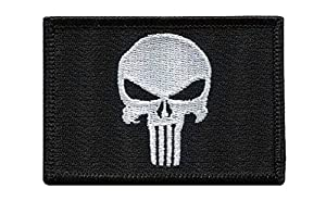 Punisher Skull Black Tactical Military Morale Velcro Patch Écusson Brodé Velcro Patch