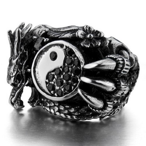 JBlue Jewelry men's Large 316L Stainless Steel Ring Band Silver Dragon Yin Yang Size11 (with Gift Bag)