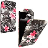 SONY XPERIA J ST26I PINK BLACK FLOWER FLIP CASE COVER TASCHE HÜLLE