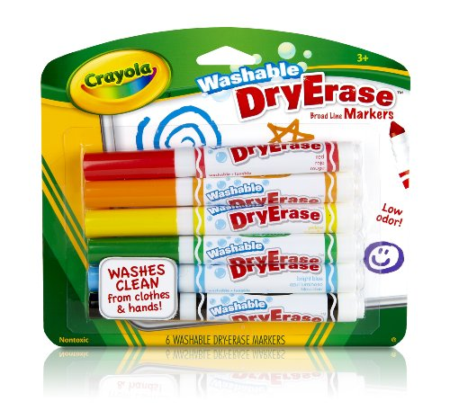 Crayola 6ct Dry Erase Broad Line Wahable Markers