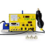 YAOGONG 909S Hot Air SMD Rework Soldering Iron Station 3 IN 1 DC Power Supply 15V 1A Music Player USB(Warranty) (Color: 909S)