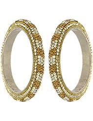 Anuradha Art Golden & White Colour Stone Desinger Lac Styled Ethnic Bangles Set For Women/Girls