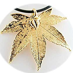 Gold Plated Japanese Maple Real Leaf Rubber Cord Necklace 22 inch
