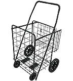 Folding Shopping Cart with Double Basket- Jumbo size 150 lb Capacity Black