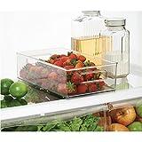 """InterDesign Refrigerator and Freezer Storage Organizer Bins for Kitchen, 8"""" x 4"""" x 14.5"""", Clear"""