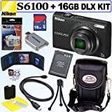 Nikon Coolpix S6100 16 MP Digital Camera (Black) + EN-EL12 Battey + 16GB Deluxe Accessory Kit