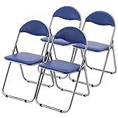 サンワダイレクト パイプイス 4脚セット パイプ椅子 折りたたみイス ブルー 100-SNC037BL