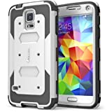 i-Blason Samsung Galaxy S5 Case - Armorbox Dual Layer Hybrid Full-body Protective Case with Front Cover and Built-in Screen Protector / Impact Resistant Bumpers (White)