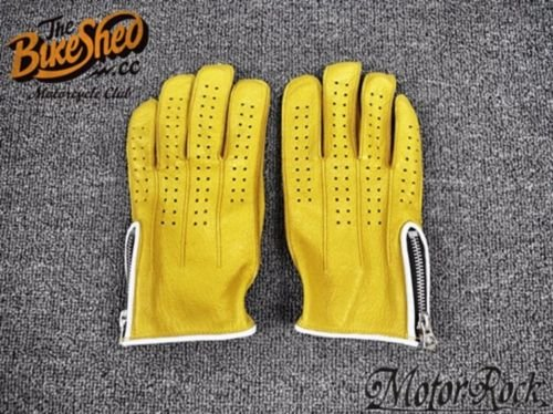 New Deerskin Leather Retro Vintage Motorcycle Gloves Riding Zipper Hole Yellow 1