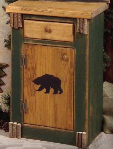 Cheap Black Bear 1-Drawer Rustic Wood Night Stand / End Table (BLA-199-Green-Bear)